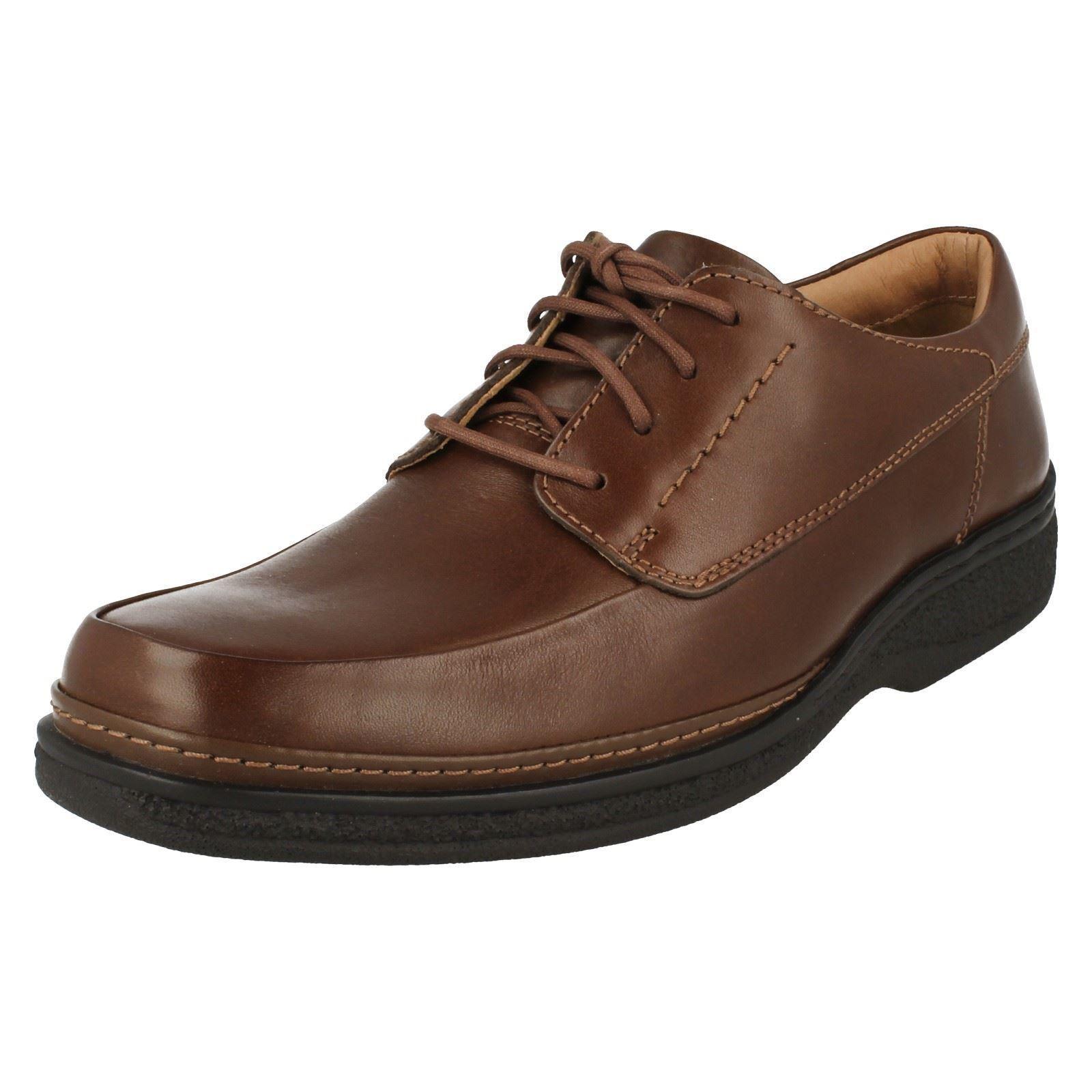 Clarks Stonehill Pace Uomo Marrone Pelle Con Lacci Scarpa Ampio RACCORDO H (38B) (Kett Scarpe classiche da uomo