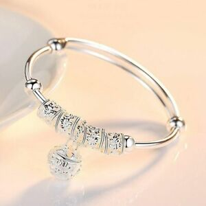 Women-Charm-Jewelry-925-Sterling-Silver-Plated-Cuff-Bangle-Bracelet-Fashion-Gift
