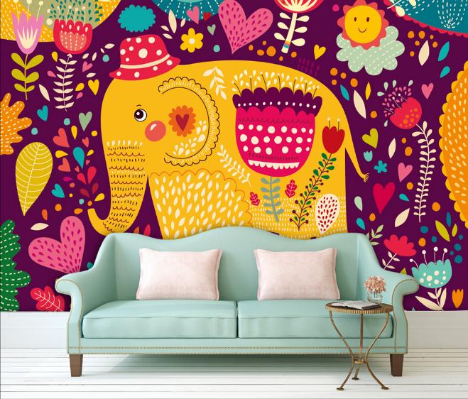 3D Gemalte Elefanten Kind 9445 Tapete Wandgemälde Tapeten Bild Familie DE Summer