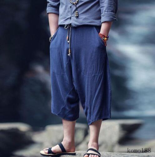 Men/'s linen blend loose casual harem pants cropped trousers shorts plus size