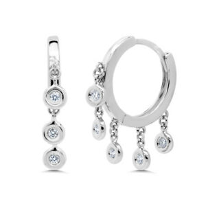 0-16CT-14K-White-Gold-Round-Real-Diamond-Dangle-Bezel-Shaker-Hoop-Huggie-Earring