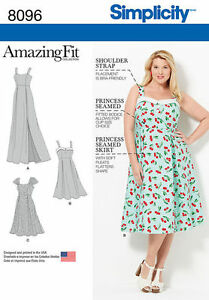 Details about Simplicity 8096 Paper Sewing Pattern Amazing Fit Retro Style  Dress Plus 18W-32W