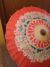 "CHINESE JAPANESE ORIENTAL Red UMBRELLA PARASOL  25"" IN DIAMETER  RICE PAPER PRNT"