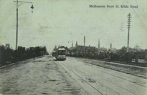 MELBOURNE-FROM-ST-KILDA-ROAD-VICTORIA-EARLY-1900-S-POSTCARD