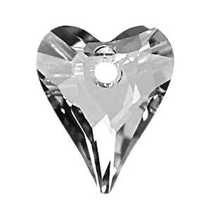 "1 Swarovski Wild Pendentif En Forme De Cœur 6240, Argent (crystal Cal ""v""), 17 Mm-afficher Le Titre D'origine"