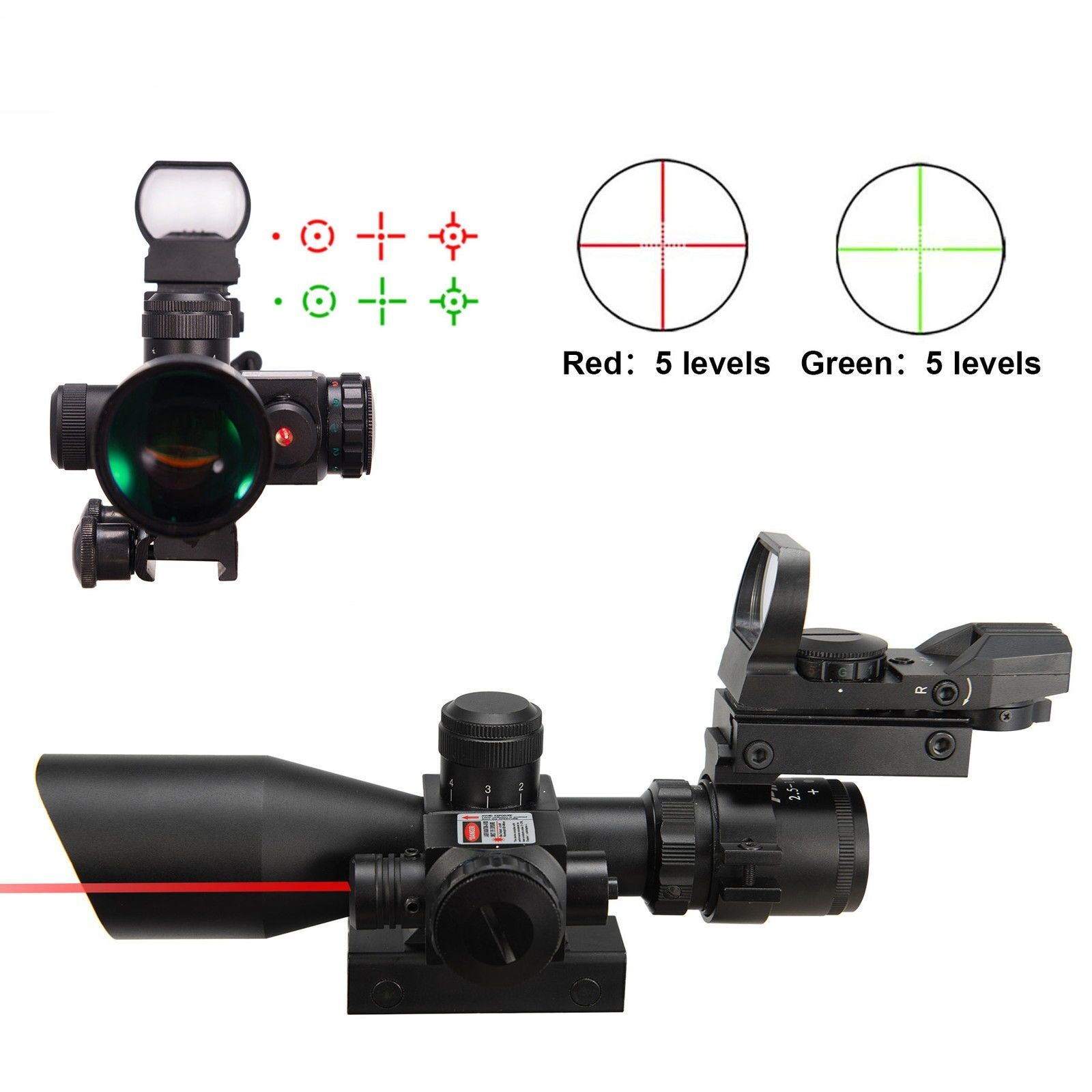 Set Holographic Grün / ROT Dot With 2.5-10X40 Tactical Rifle Scope w/ ROT Laser