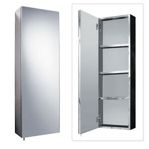 bathroom storage mirrored cabinet mirrored cabinet stainless steel 900 x 300mm 11725