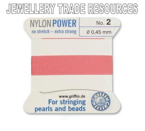 DARK PINK NYLON POWER SILKY THREAD 0.45mm STRINGING PEARLS /& BEADS GRIFFIN 2