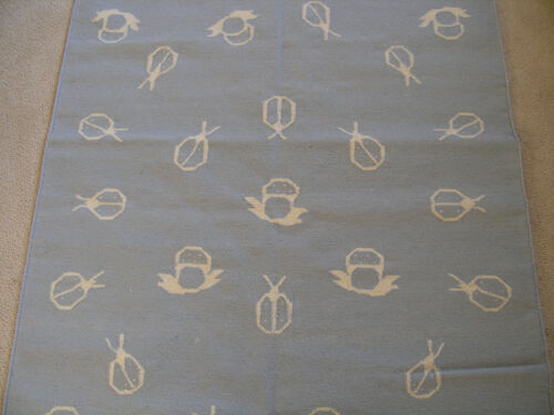 Fantastic Hand Woven Rug Carpet Area Rug Beetles Mushrooms 4x6 B /& W  Wool LN