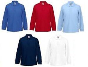 5b7ed6df4 3-Pack Kids Childrens Fruit of The Loom Long Sleeve Polo Shirt School  Uniform 63201