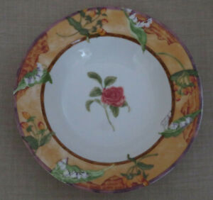 Lot-of-4-222-Fifth-Tuscany-Rose-Rimmed-SOUP-Bowls-9-3-8-034