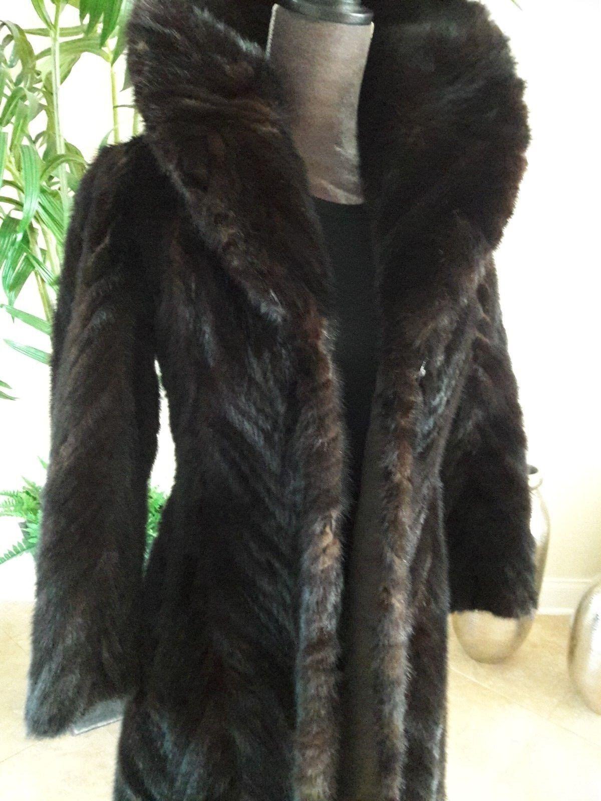 MINK COAT Real Fur Natural Ranch Vintage Mink Coat Women's Size 2