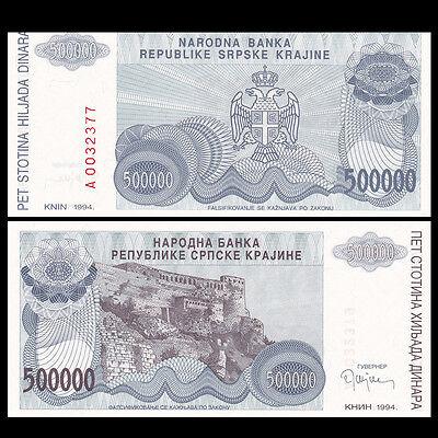 CROATIA 500,000 500000 DINARA 1994 P R32 UNC LOT 5 PCS
