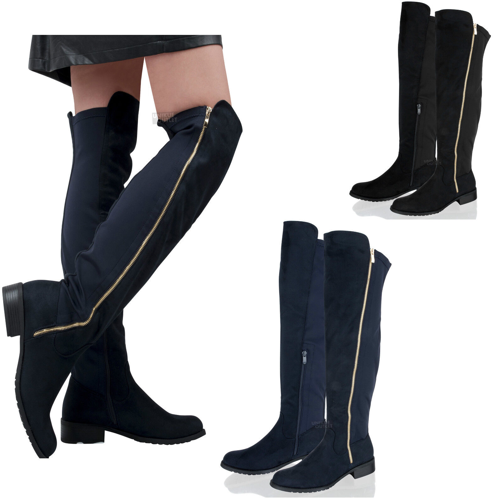 Womens Ladies Over Knee High Elasticated Stretch Block Heel Pull On Boots Size