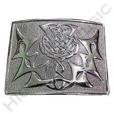 H M Scottish Highland Kilt Belt Buckle Celtic Modern Thistle Knot Chrome Finish