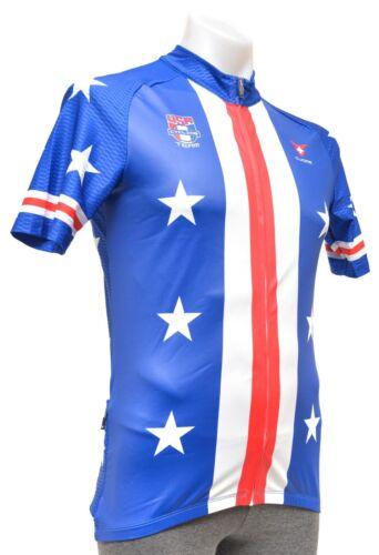 Cuore Team USA Retro Stripes Short Sleeve Jersey Men LARGE 2XL Blue Road Bike