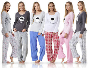 08e6261881c8 Ladies Pyjama Set Fleece Winter Warm Long Sleeve Womens Nightwear ...