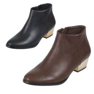 Womens Ladies Pixie Zip Smart Low Heel Ankle Boots Fashion Work