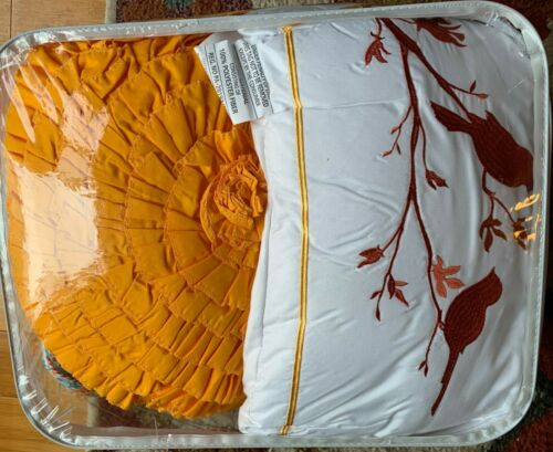 Lush Décor Harley Quilt Damask Pattern Reversible 5 Piece Set King Tangerine