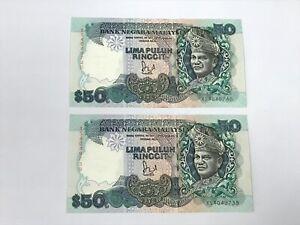 B0130 - 2pcs 6th RM50 Jaffar Sign 1st Prefix #XS BA Banknote - UNC minor foxing