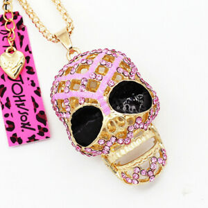 Betsey-Johnson-Lilac-Enamel-Crystal-Big-Skull-Head-Pendant-Chain-Necklace-Gift
