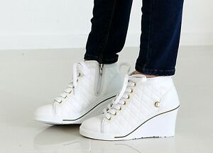 NEW-Vogue-Women-Ankle-Boots-Shoes-Girls-Wedge-Heel-Casual-Platform-Lace-up-MIRR