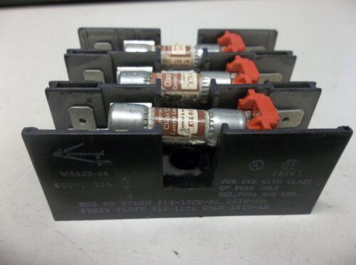 CONNECTRON FUSE BLOCK MR633-66 600V VOLT 30A 30 A AMP 3 POLE MR63366 W//FUSES