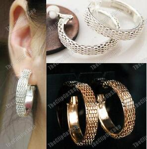 Image Is Loading Clip On Chunky Mesh Thick Hoops 3cm