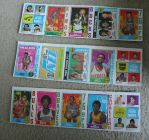 Rare Lot of 3 Uncut Sheet Panels 1974-75 Topps Basketball Cards with Stars #2