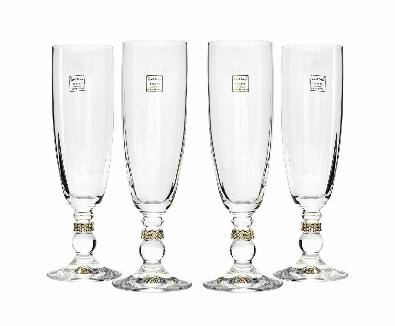 Italian Collection 4-pc Crystal Champagne Flutes w  Round or Swarovski Crystal