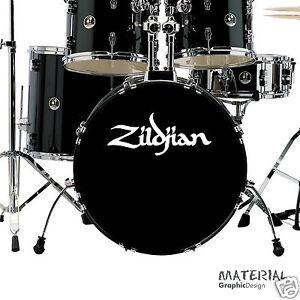 2x Zildjian Logo Sticker Decal Bass Drum Head Drums Kit Percussion