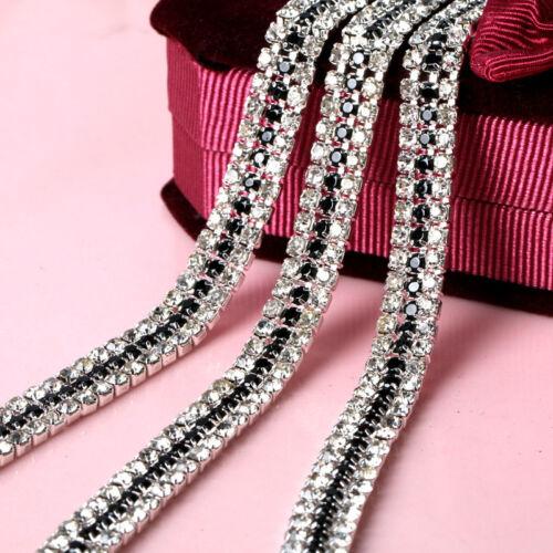 1 Yard 3 Rows 3MM Silver Clear Crystal Rhinestone Trim Chain Sewing Craft Chains