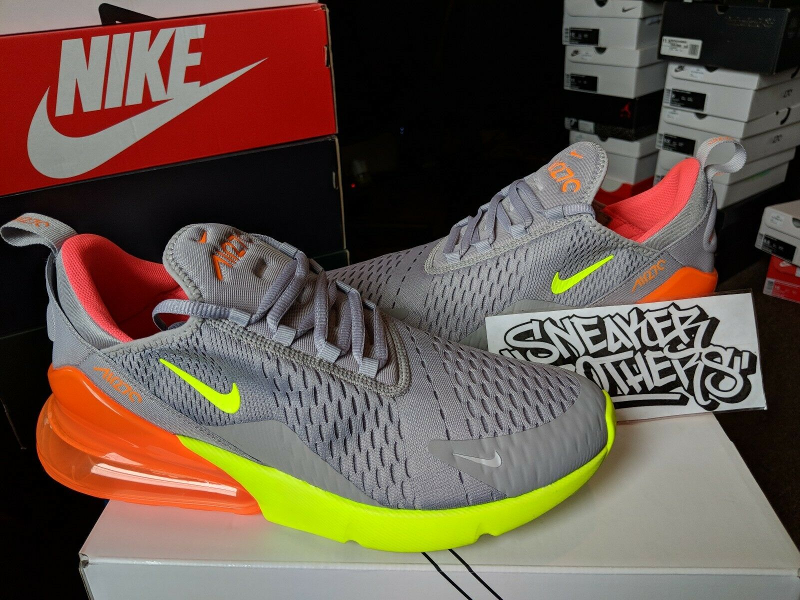 Nike air max 270 atmosfera grey volt neon verde - arancione bollente punch ah8050-012