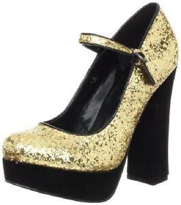 New-C-Label-Chunky-High-Heel-Platform-Punp-Shoe-Party-Glitter-Gold-Women-8-M-NIB