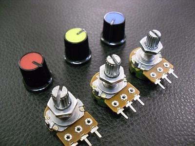 3 Pieces 50K Linear Potentiometer Pot B50K + Coloured Knobs :: Variable Resistor