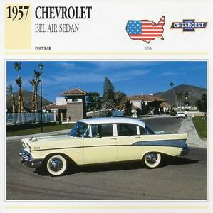 design intemporel dd9c1 ecf87 Details about 1957 CHEVROLET BEL AIR SEDAN Classic Car Photograph /  Information Maxi Card