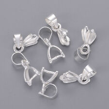 20PC Silver Plated Brass Ice Pick Pinch Bails DIY Jewelry Findings Craft 12mm