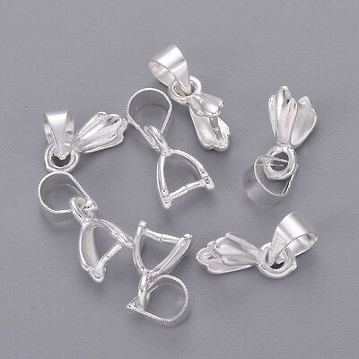 5x Silver Tone Brass Pinch Bails Smooth Heart Ice Pick Pendant Holder Craft 22mm