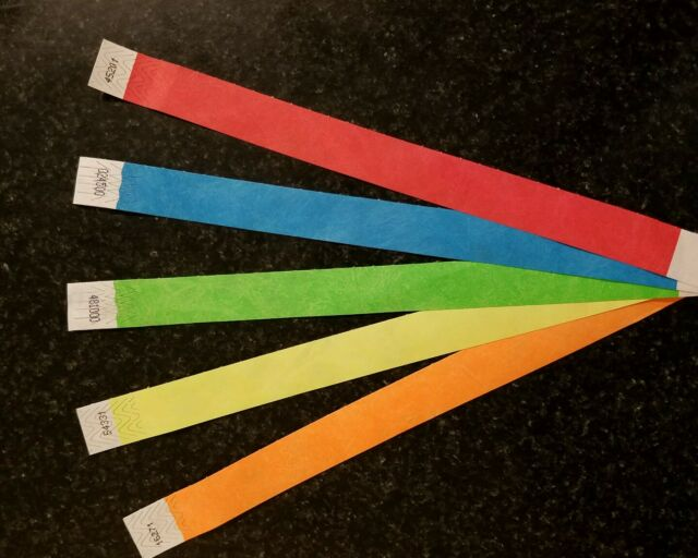 """5 asst colors Paper Wristband Wristbands for Events 500 3//4/""""  Tyvek Wristbands"""