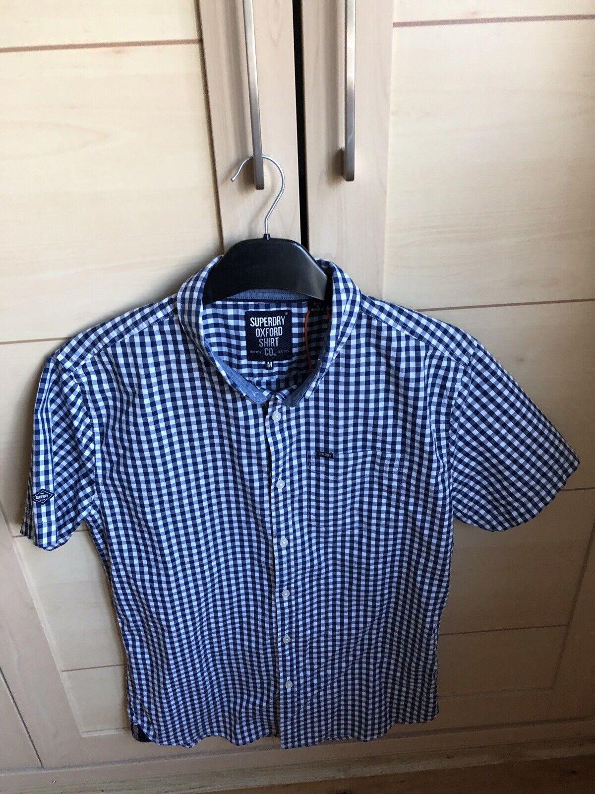 Superdry men's short sleeve oxford shirt in gingham bluee size Medium bnwt