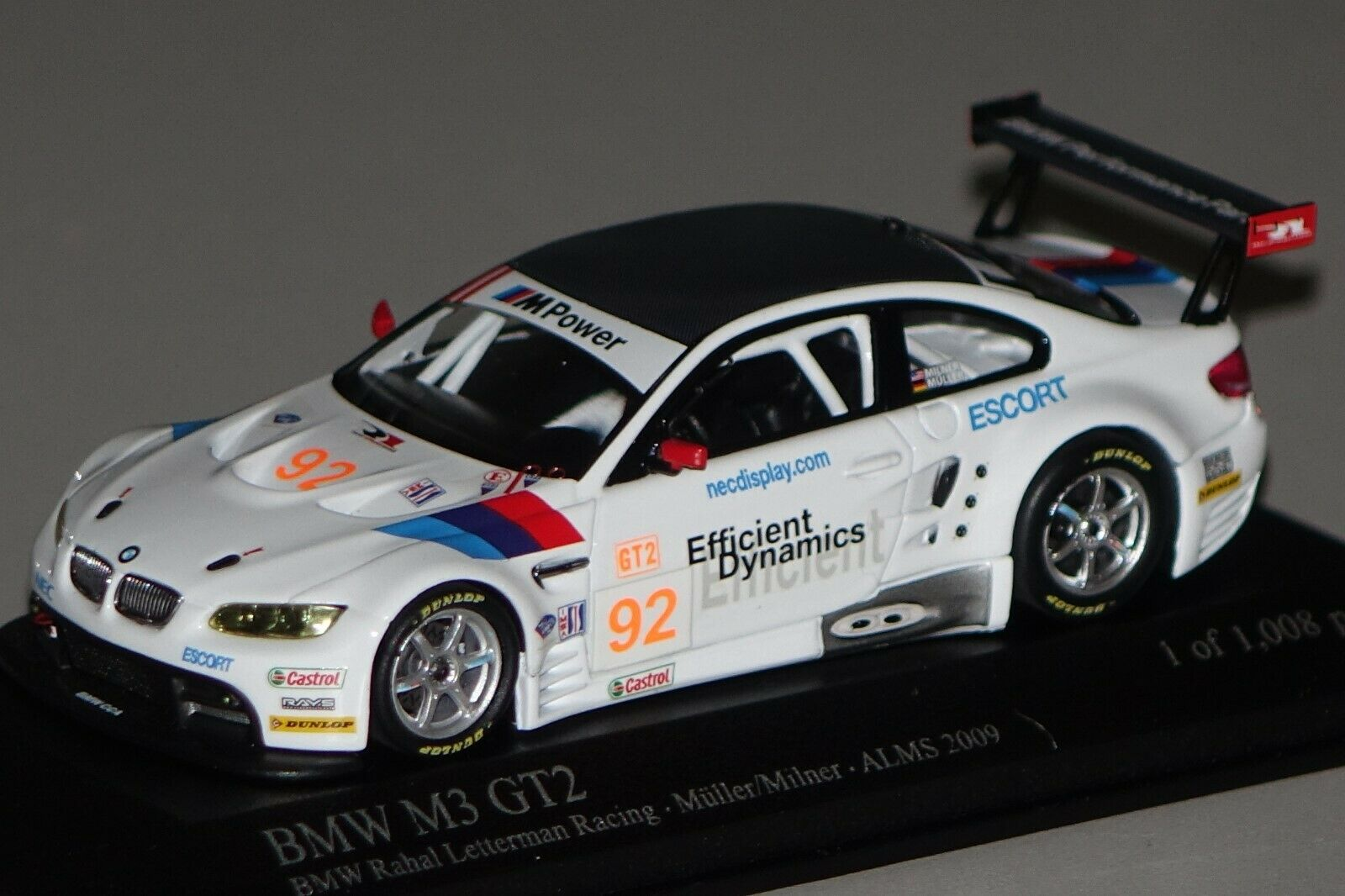 BMW m3 gt2 (e92) AMS 2009  92 1 43 MINICHAMPS 400092992 NOUVEAU & NEUF dans sa boîte