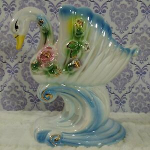 Vintage-Large-Swan-Vase-Planter-Ceramic-11-x-11-034-White-Gold-Trim-Floral