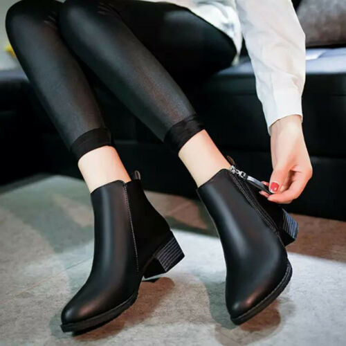 Women/'s Vintage Zipper Shoes Fashion Ankle Pointed Horseshoe Heel Martin Boots