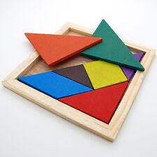 Color Wooden Tangram Brain Teaser Puzzle Educational Developmental Kids Toy PW