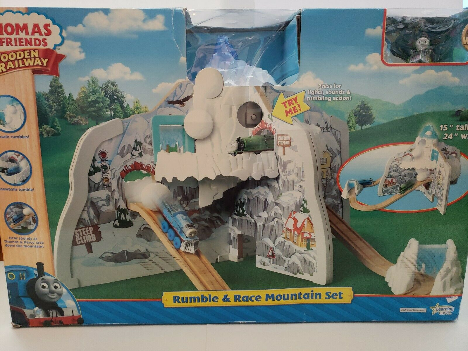 NEW Thomas The Train Wooden Railway - Rumble And Race Mountain Set