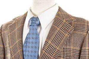 Vintage-J-PRESS-Sport-Coat-41R-in-Honey-Gold-Brown-Glen-Plaid-Wool-Tweed-IRELAND
