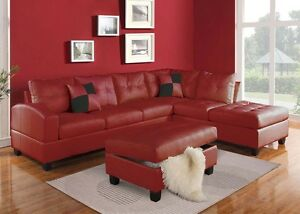 Details about Red Bonded leather Sectional Sofa Couch Sofa & Chaise Comfort  Seat Furniture