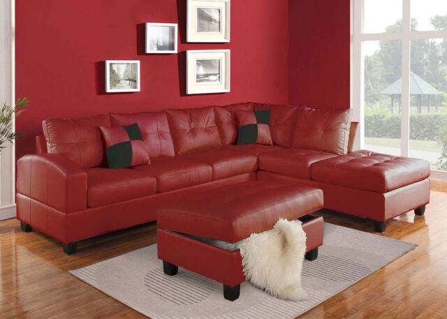 Red Bonded Leather Sectional Sofa Couch