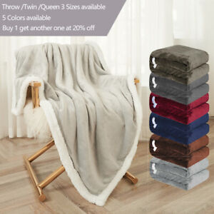Sherpa-Flannel-Fleece-Blanket-Soft-Plush-Warm-Thickened-Bed-Sofa-Twin-Queen