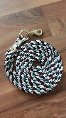 Horse Nylon poly round Lead Rope 80 inches w//brass Swivel Snap black//red